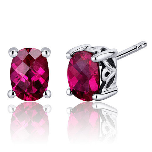 Oravo Basket Style 2.00 Carats Ruby Oval Cut Stud Earrings in Sterling Silver