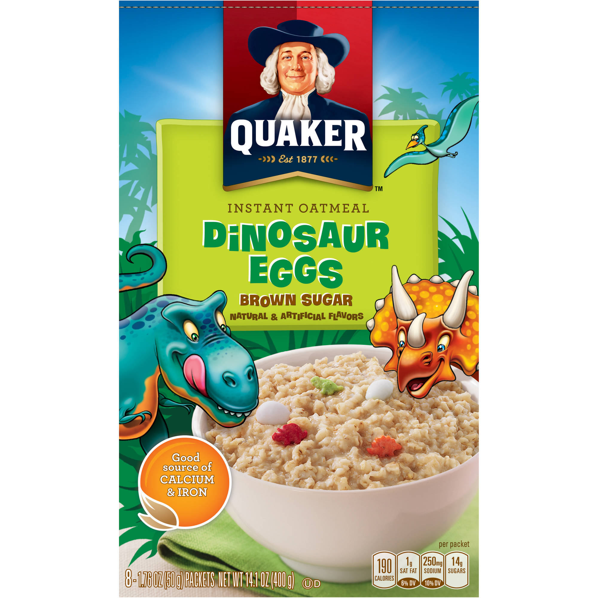 Quaker Dinosaur Eggs Brown Sugar Instant Oatmeal, 1.76 oz, 8 count