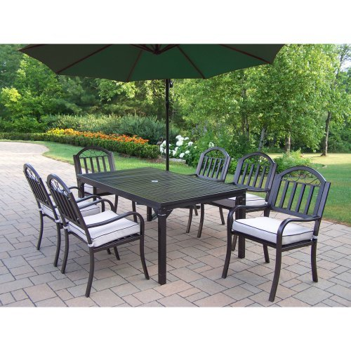 Oakland Living Rochester 67 x 40 in. Patio Dining Set with Cantilever Umbrella