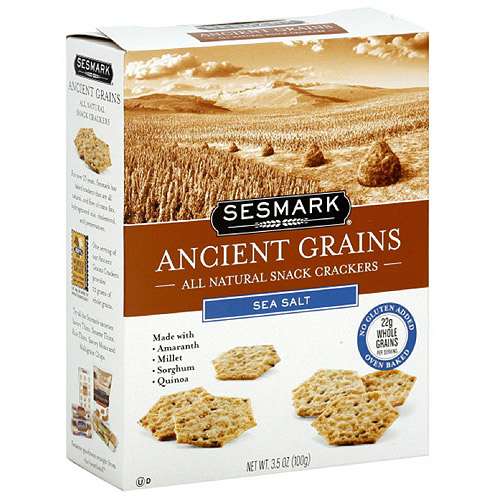 Sesmark Sea Salt Ancient Grains Crackers, 3.5 oz (Pack of 6)