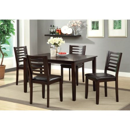 Furniture of America Ladorra 5-Piece Ladder Back Dining Table Set - Espresso