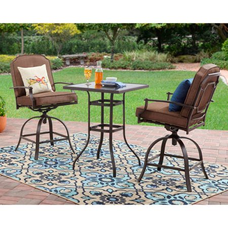 Mainstays wentworth 3 piece high outdoor bistro set seats for Jardin 8 piece dining set