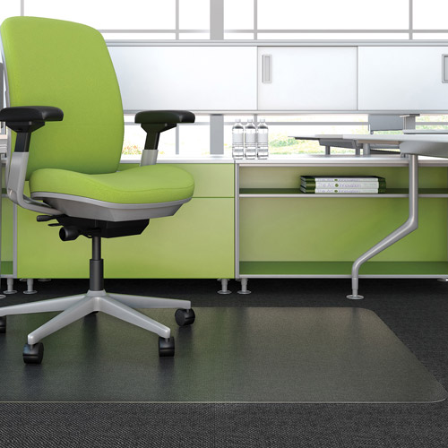 "Deflecto 36"" x 48"" EnvironMat Recycled Frequent Use Chair Mat for Medium Pile Carpet, Clear"