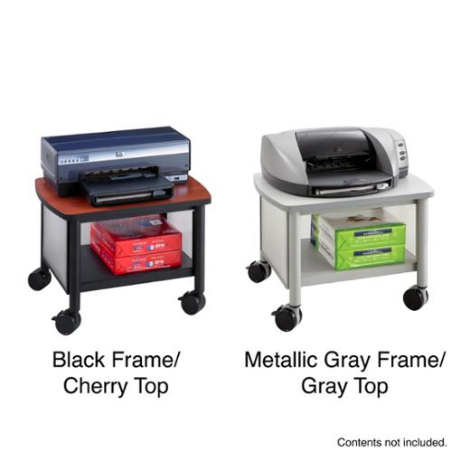 Safco Impromptu Under Table Printer Machine Stand Black Frame/Cherry Top