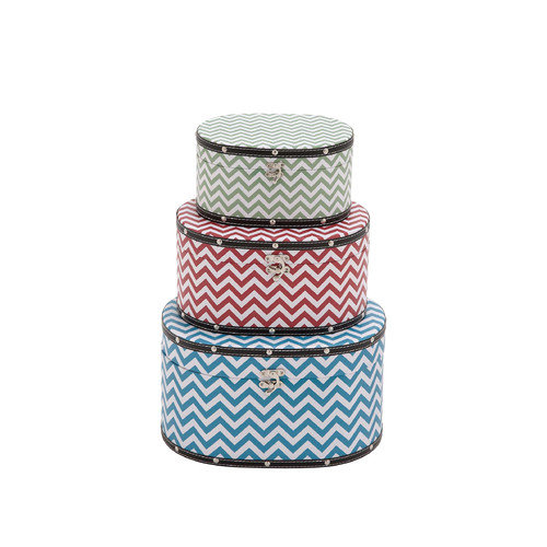 Woodland Imports Zig - Zag Patterned 3 Piece Wood Vinyl Box Set