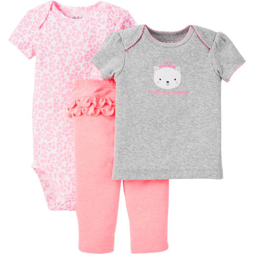 Child Of Mine Made By Carter's Newborn Baby Girl T Shirt, Bodysuit & Pant Outfit Set 3 Pcs