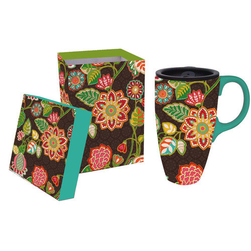 Cypress Home 17 oz. Floral Ceramic Travel Cup with Lid