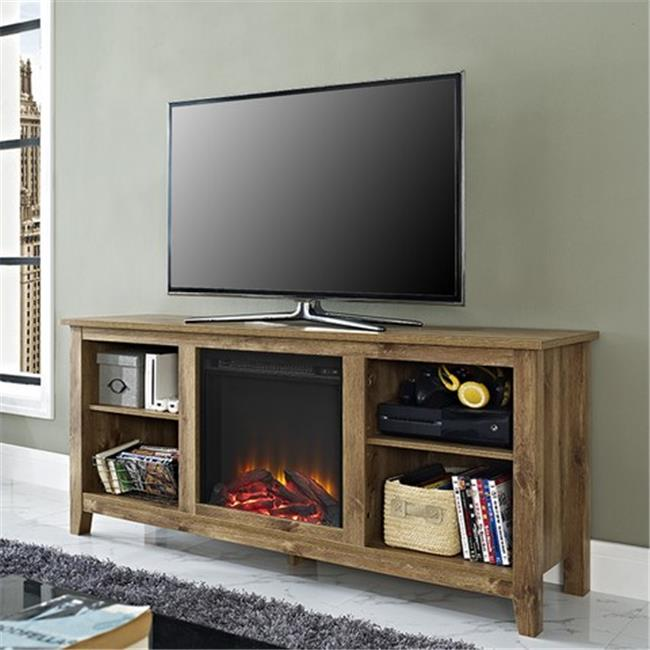Walker Edison W58FP18BW 58 x 24 inch Barnwood TV Stand With Fireplace Insert