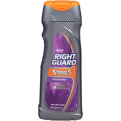 Right Guard Xtreme Defense 5 Body Wash, Hydrating 16 oz