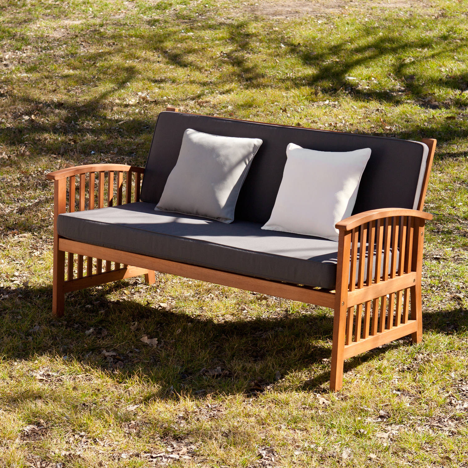 Southern Enterprises Tarlton Outdoor Sofa, Oiled Hardwood with Rich Greys