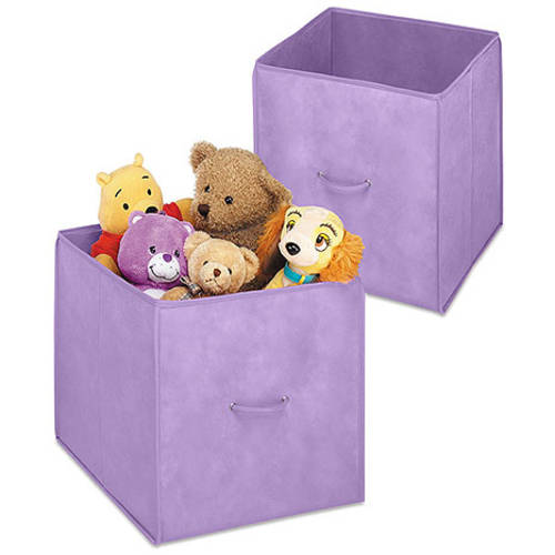 "Whitmor Set of 2 Collapsible 14"" Storage Cubes, Purple"