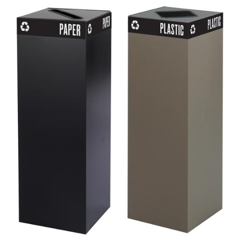 Safco Public Square Recycling Receptacle Base, 42-Gallon (top sold separately) Black