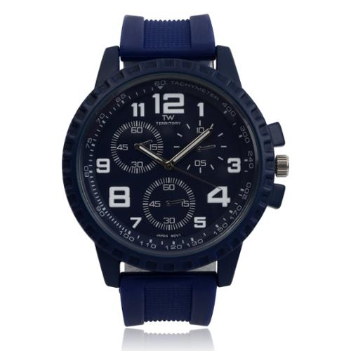 Territory Men's Silicone Rhinestone Time Zones Watch Blue