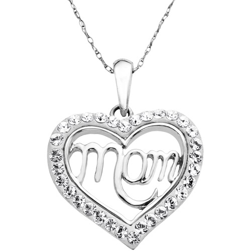 Luminesse White Swarovski Elements Sterling Silver Mom Heart Pendant, 18""