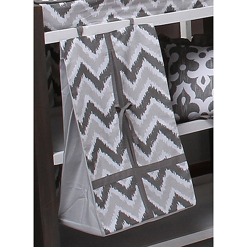 Bacati Ikat Diaper Stacker 100 Cotton percale fabrics with cardboard insert, Zigzag Grey