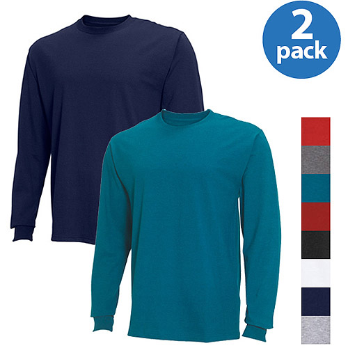 Fruit of the Loom Big Men's Long Sleeve Crew Tee, 2 Pack