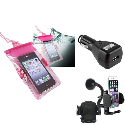 Insten Hot Pink Waterproof Bag Case Cover+Car Charger+Windshield Mount Holder For Apple iPhone 4 4S 3GS