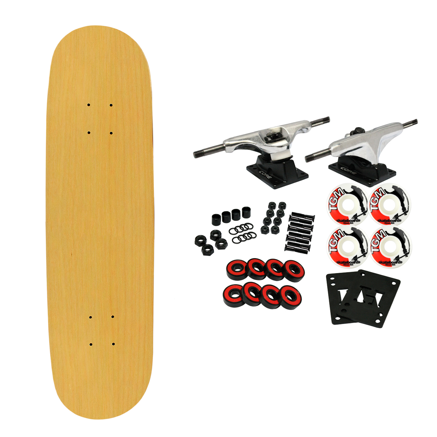 "Moose Complete Skateboard NATURAL 8.0"" Silver/White"