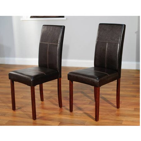 Faux leather parson dining chair set of 2 for Leather parsons dining chair