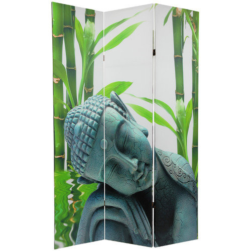 Oriental Furniture 71.25'' x 47.25'' Double Sided Serenity Buddha 3 Panel Room Divider