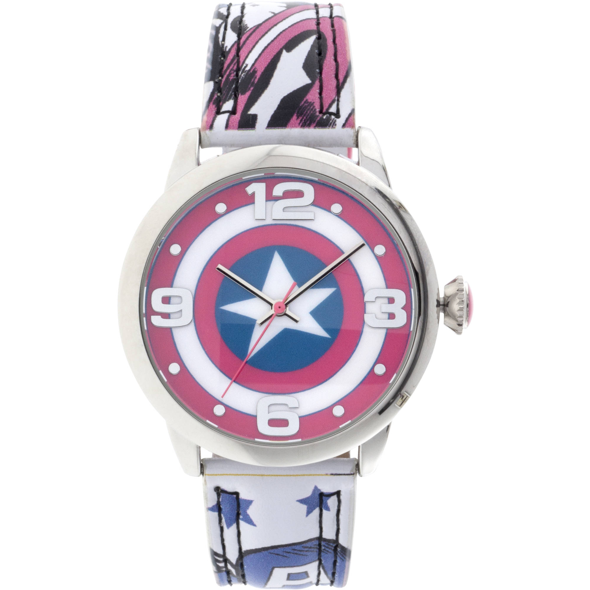 Marvel Comics Silver Metal Case Character-Printed Dial Analog Watch, Marvel Graphic Strap