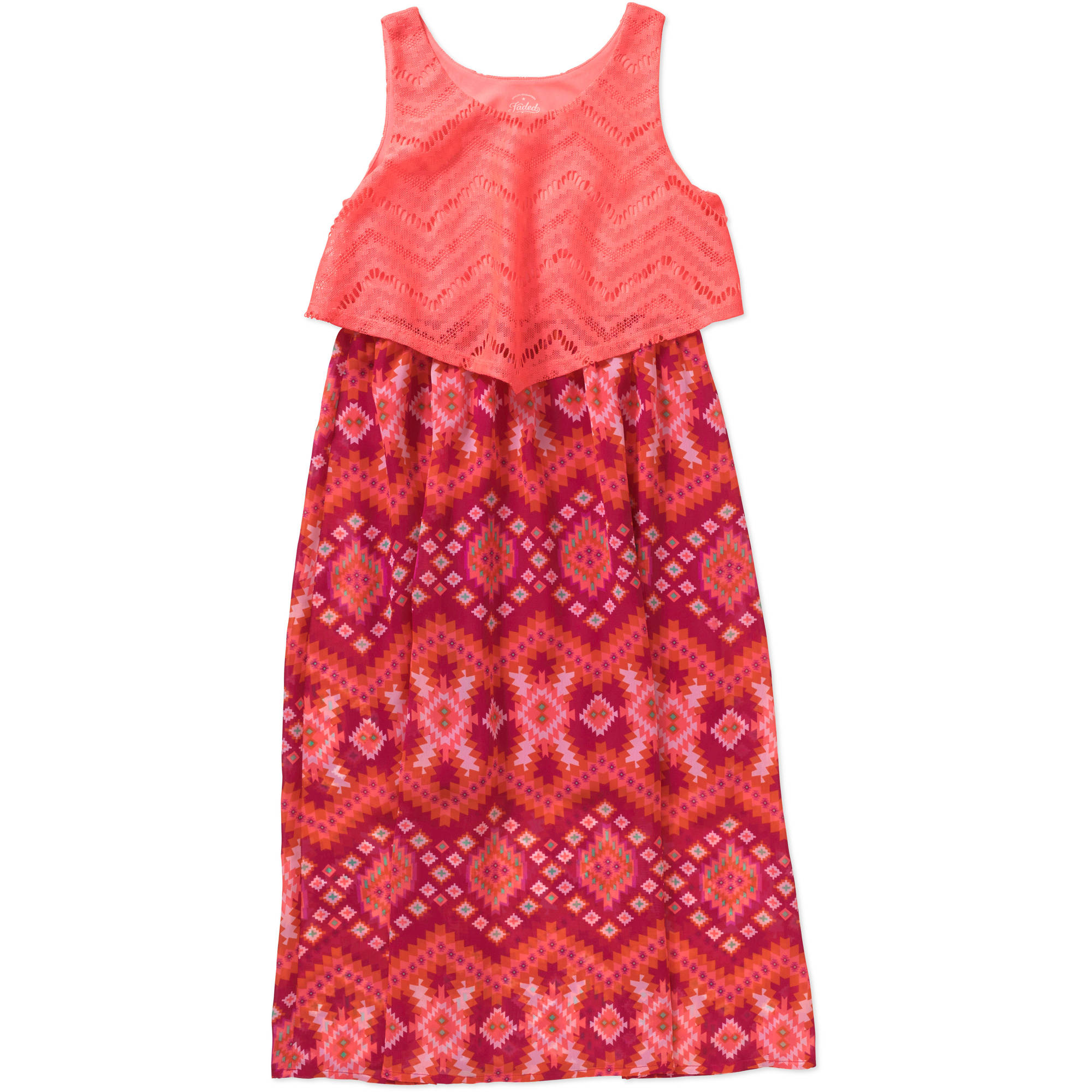 Faded Glory Girls' Crochet Popover Maxi Dress