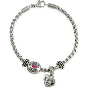 "Connections from Hallmark Stainless Steel ""I love us"" Crystal Charm Bracelet"