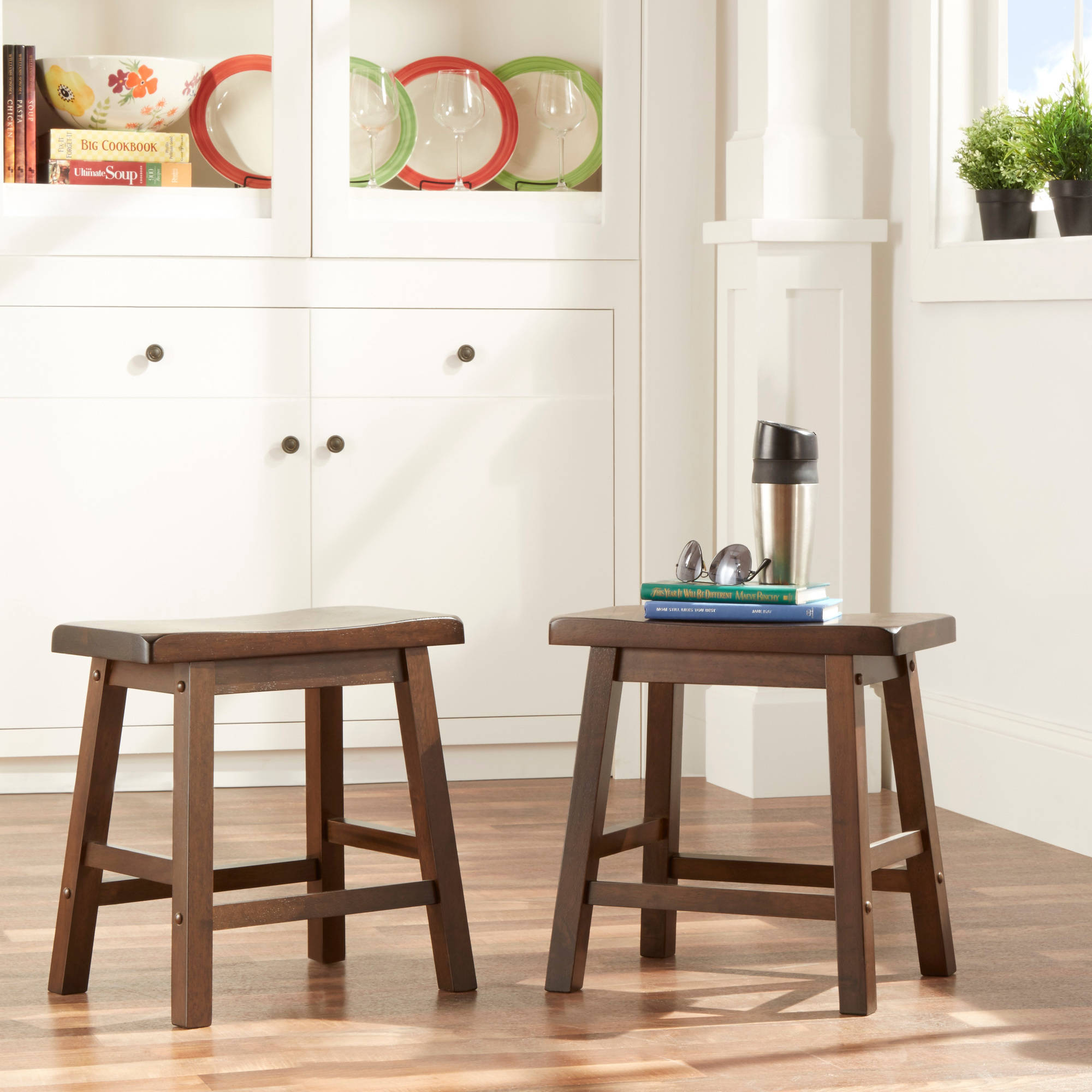 Ashby Kitchen Stools 18'', Set of 2, Walnut