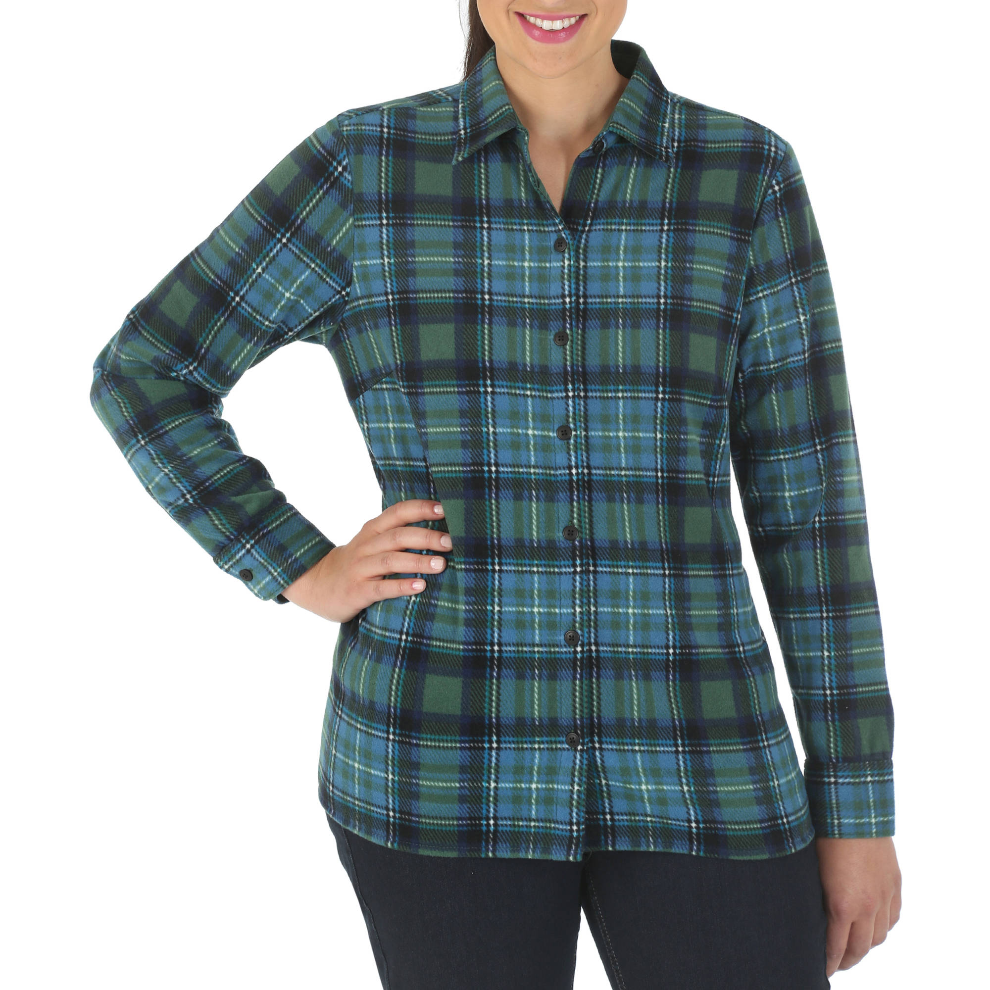 Riders by Lee Women's Casual Long-Sleeve Plaid Fleece Shirt