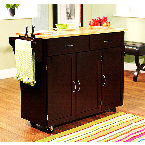 Extra Large Kitchen Cart, Espresso with Wood Top