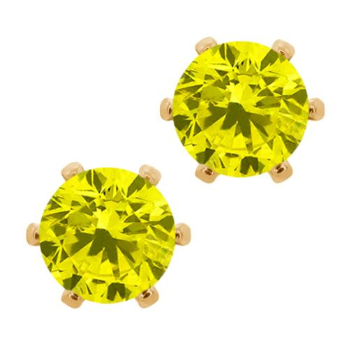 1.60 Ct Canary SI1-SI2 Diamond Brass Yellow Gold Plated Brass Stud Earrings