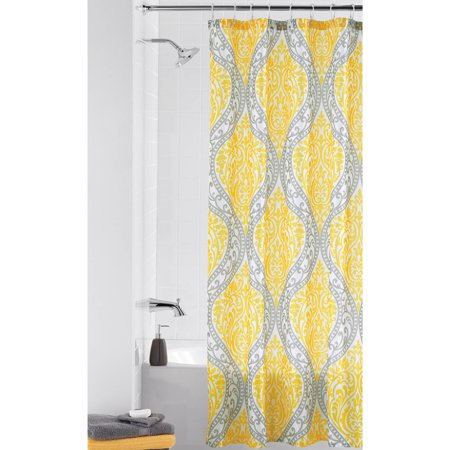 Mainstays Yellow Damask Shower Curtain