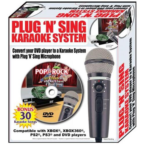 Emerson MM205S Plug N Sing Karaoke Microphone with Echo and 30 Pop Karaoke Songs on DVD