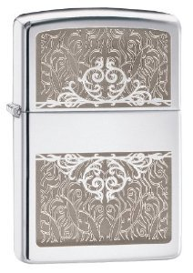 Zippo Filigree Initial Pocket Lighter Multi-Colored