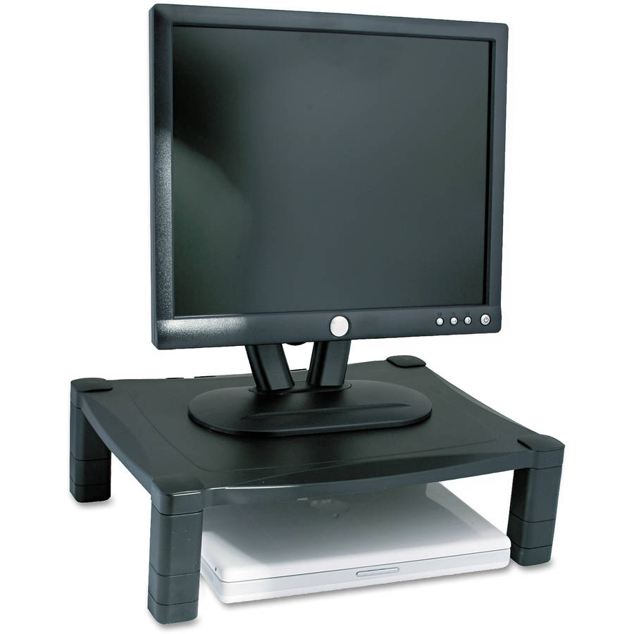 "Kantek Single Level Height-Adjustable Stand, 17"" x 13.25"" x 3"" to 6.5"", Black"