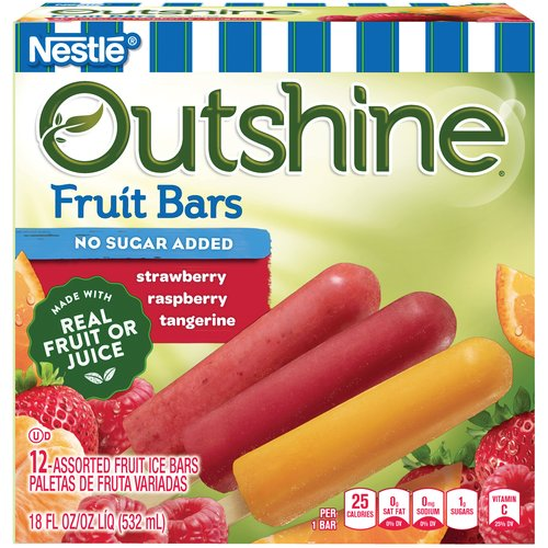 Outshine Strawberry/Raspberry/Tangerine No Sugar Added Fruit Bars 12 ct Box
