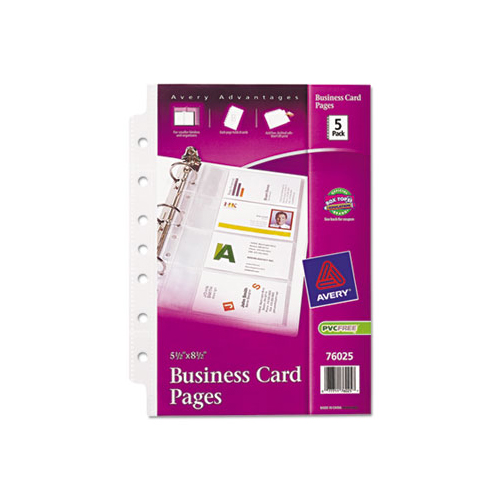 Avery Dennison Business Card Binder Pages, 2 x 3 1/2, 8 Cards/Sheet, 5 Pages/Pack 76025