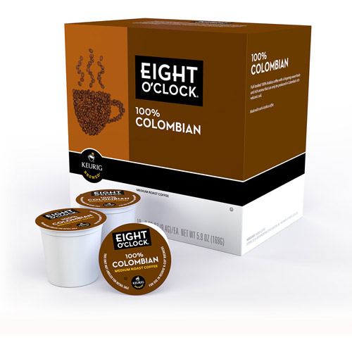 Eight O'Clock 100% Colombian K-Cups Coffee, 18 count