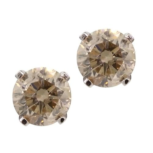 1/3 Ct Round Cut 14K White Gold Champagne Diamond Stud Earrings