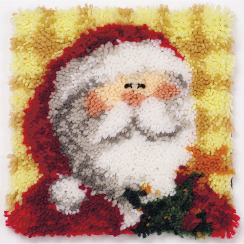 "Latch Hook Kit 12"" x 12"", Ho Ho Santa Pillow"