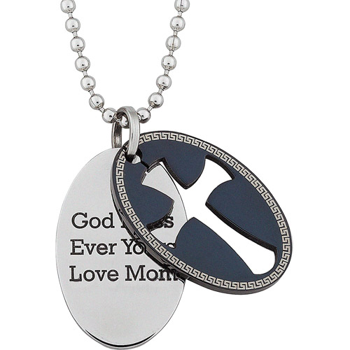 Personalized Two-Tone Engraved Double Oval Cross and Tag Stainless Steel Pendant, 20""