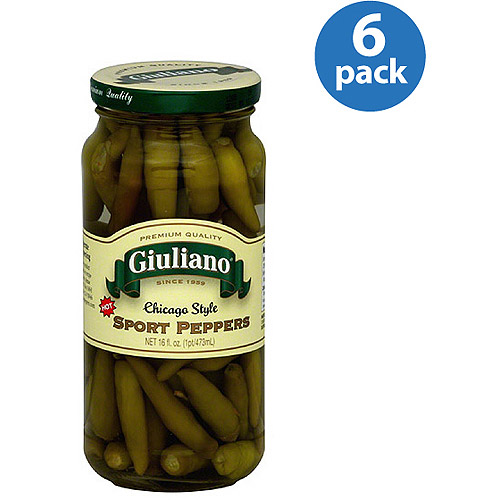 Giuliano Chicago Style Sport Peppers, 16 fl oz, (Pack of 6)