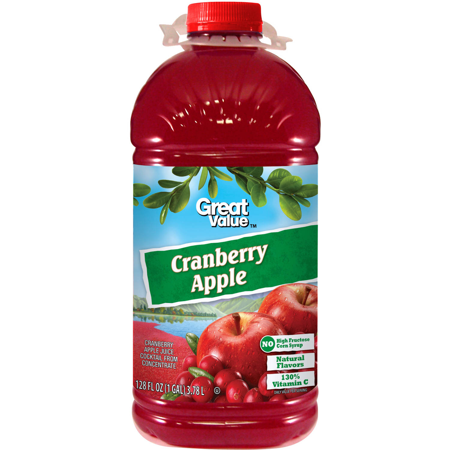 Great Value Cranberry Apple Juice, 128 fl oz