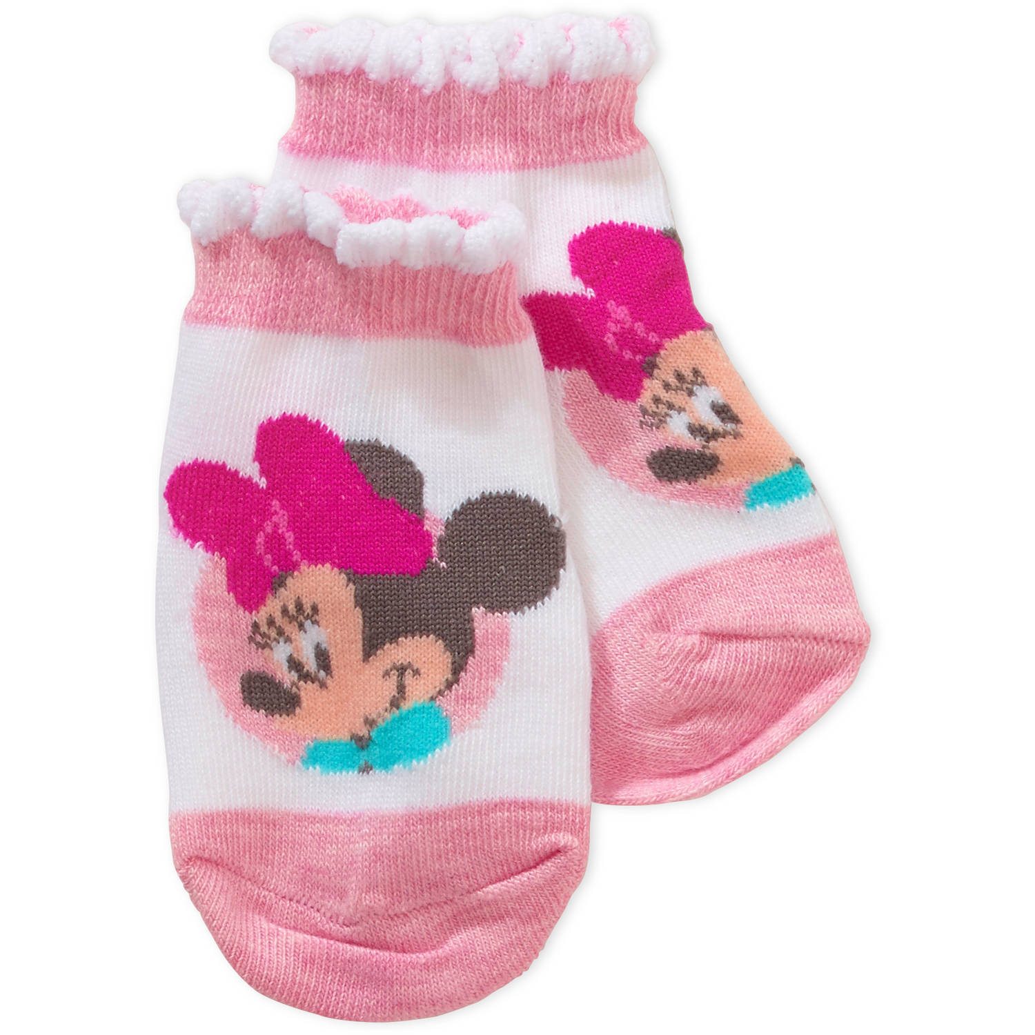 Minnie Mouse Newborn Baby Girl Quarter Socks, 3-Pack