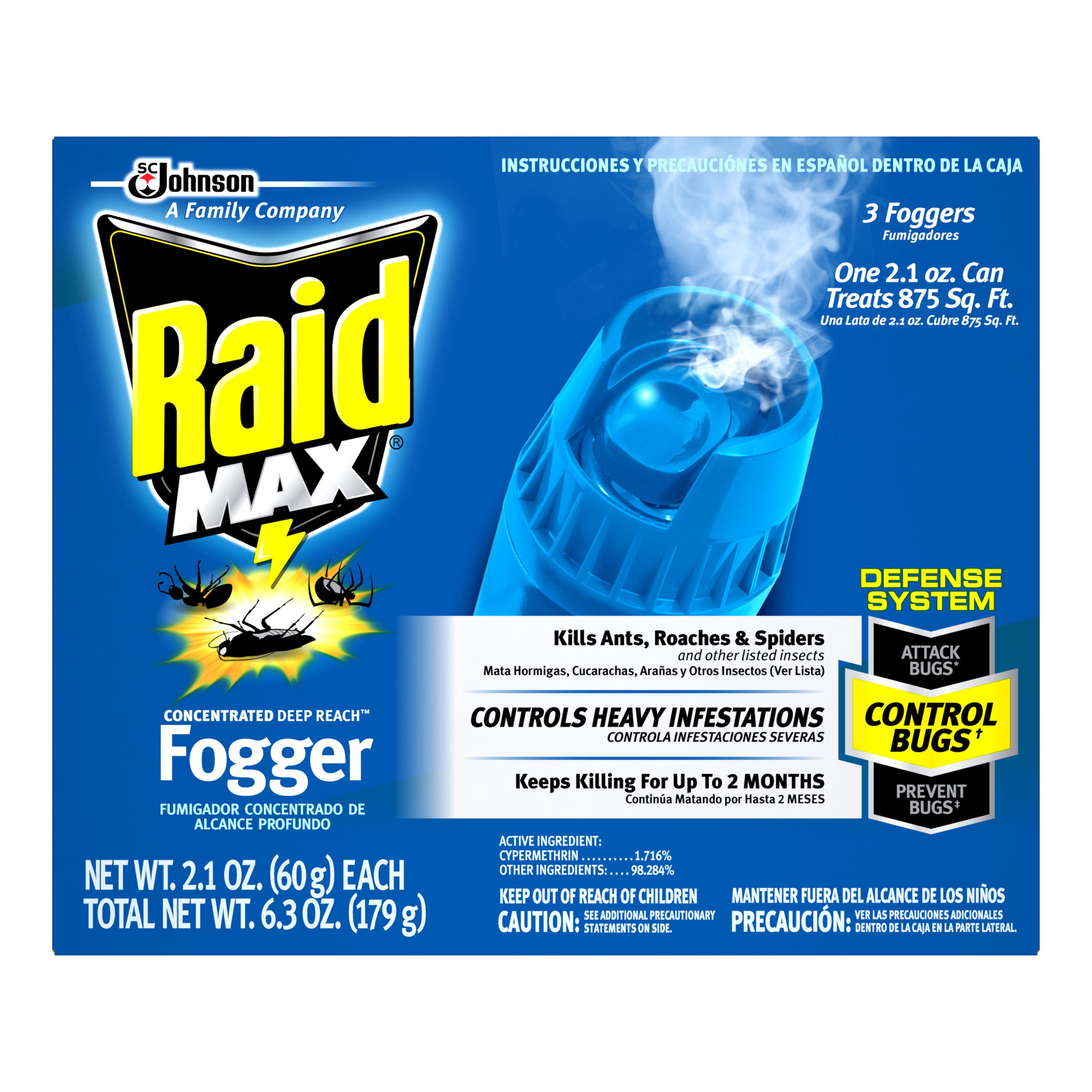 Raid Max Concentrated Deep Reach Fogger (2.1 Ounces, 3 count)