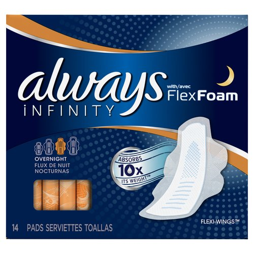Always Infinity Overnight Pads with Flexi-Wings, (Choose your Count)