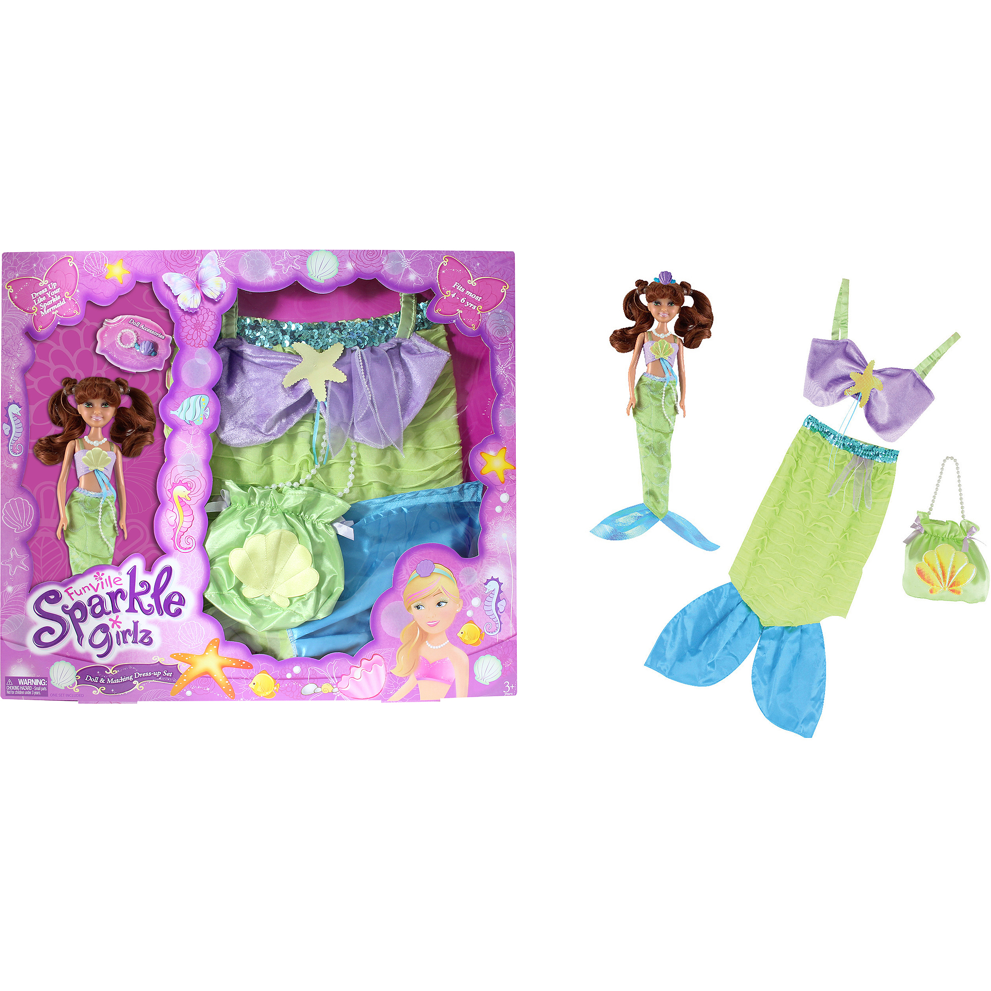 Funville Sparkle Girlz Doll with Dress Up, Caucasian, Mermaid