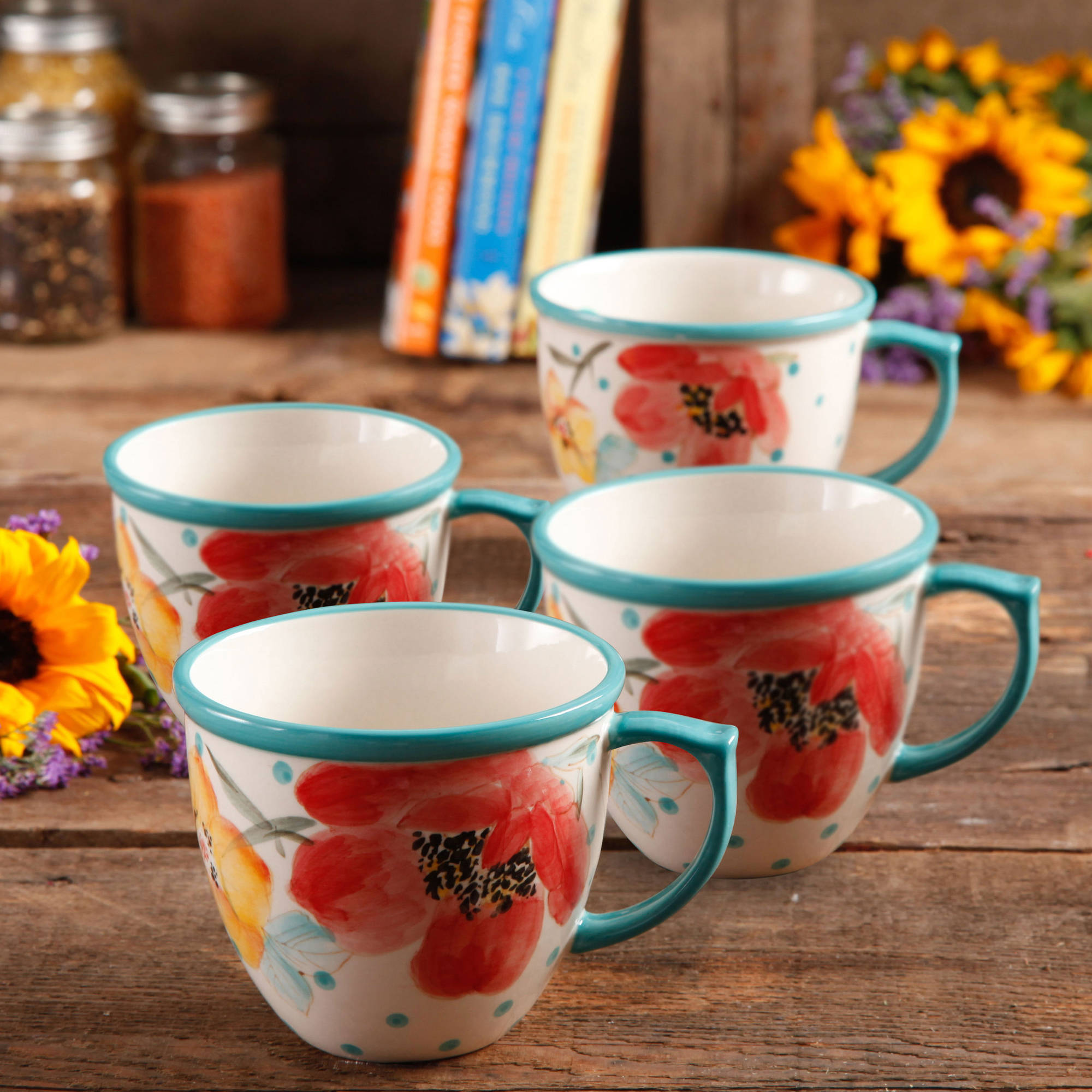 The Pioneer Women Flea Market Vintage Bloom 16 oz Coffee Cup, Set of 4