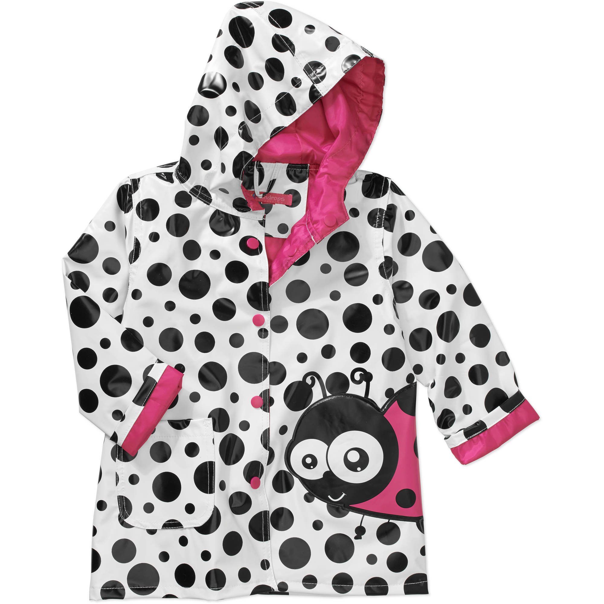 Raindrops Toddler Girl Ladybug Rain Jacket