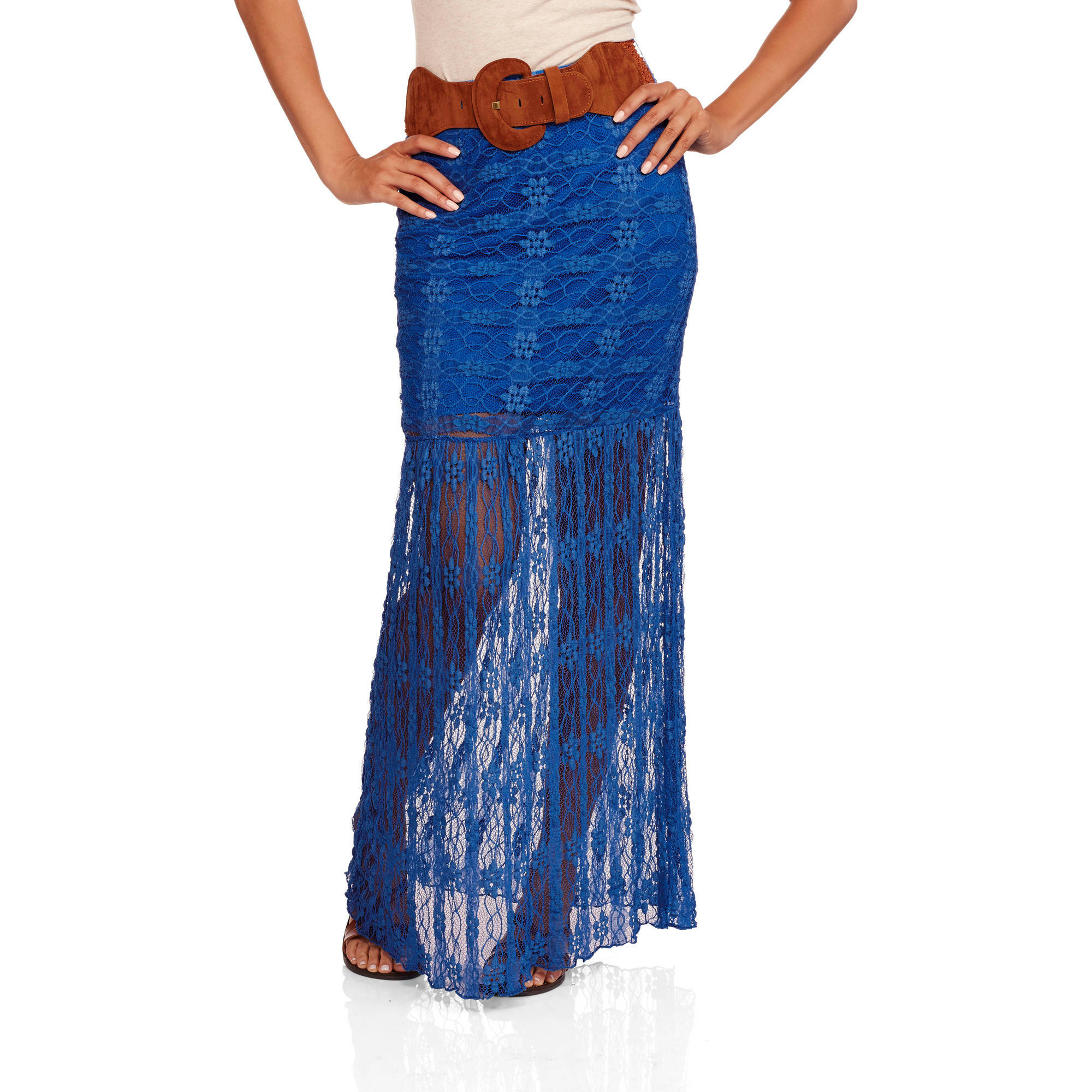 No Boundaries Juniors' Belted Lace Maxi Skirt
